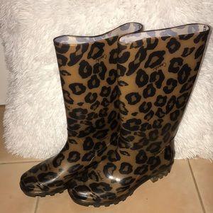 AUTHENTIC COACH RAIN BOOTS Cheetah Print SIZE 5